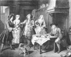 Dessin de bourgeois dans une cuisine