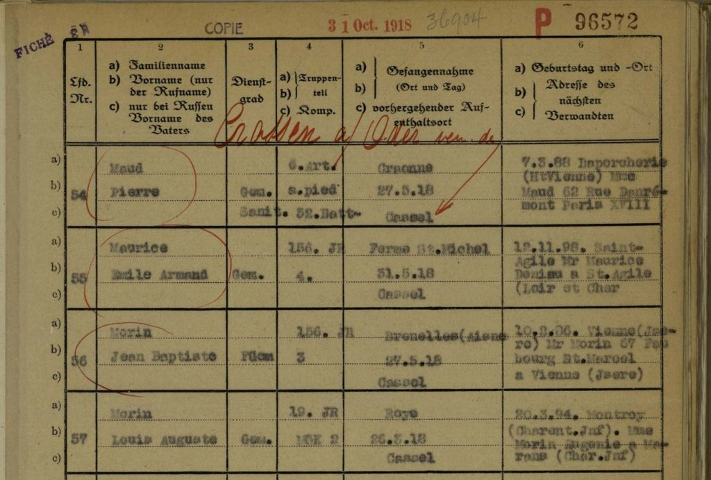 Extrait de la liste de prisonniers du camp de Crossen sur Order