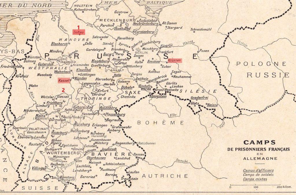 En rouge, les camps fréquentés par Louis MORIN entre le 27 mars 1918 et le 20 janvier 1919