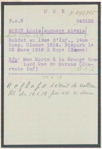 Fiche de prisonnier de Louis MORIN, dans les archives du CICR