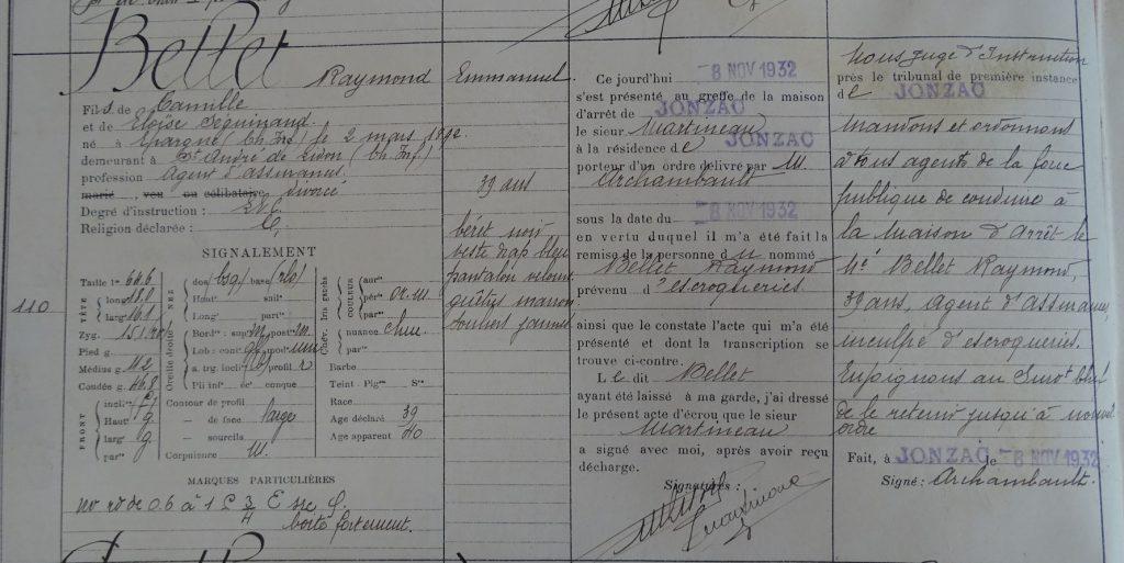 Extrait du registre d'écrou de Jonzac (1932)