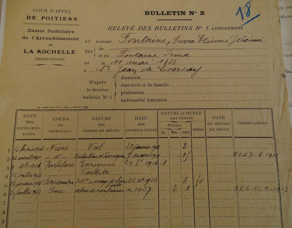 AD 17 - 2U3/3238 - Casier judiciaire de Pierre Fontaine